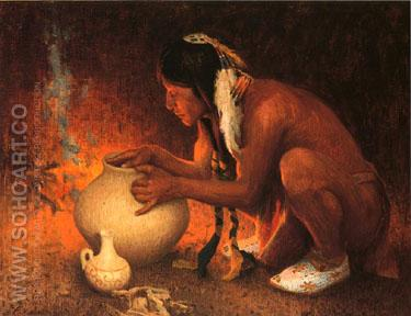 Making Pottery 1912 - E Irving Couse reproduction oil painting