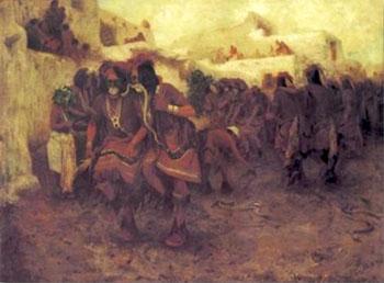 Moki Snake Dance - E Irving Couse reproduction oil painting