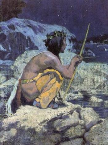 Moonlight Painting - E Irving Couse reproduction oil painting