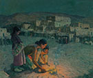 Moonlight Pueblo in Taos - E Irving Couse reproduction oil painting