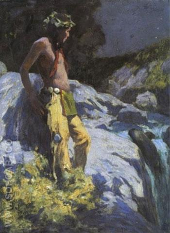 Moonlit Falls 1932 - E Irving Couse reproduction oil painting