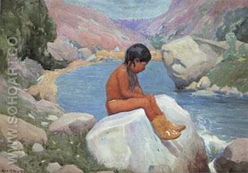 Natures Lesson - E Irving Couse reproduction oil painting