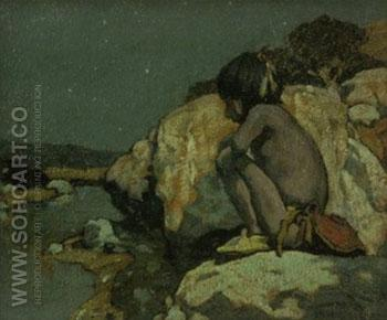 Papoose by Moonlight 1912 - E Irving Couse reproduction oil painting