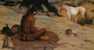 Peaceful Indian at a Campsite - E Irving Couse reproduction oil painting