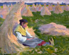 Peasant Girl Seated on Shocks of Grain - E Irving Couse