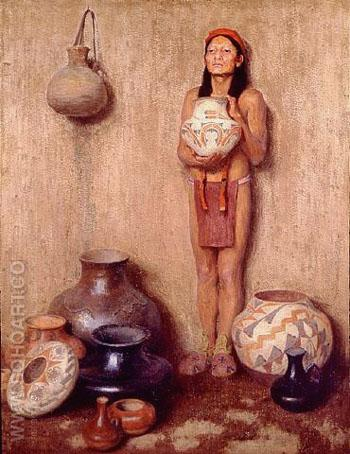 Pottery Vendor 1916 - E Irving Couse reproduction oil painting