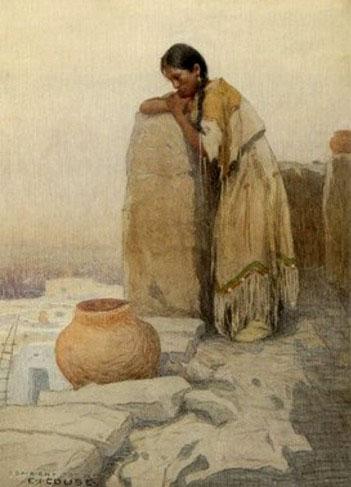 Pueblo Dreams - E Irving Couse reproduction oil painting