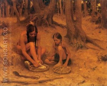 Putting on the War Shoes - E Irving Couse reproduction oil painting