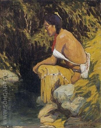 Resting - E Irving Couse reproduction oil painting