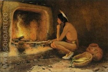 Roasting Corn 1904 - E Irving Couse reproduction oil painting