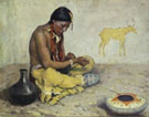 Seated Indian with Pottery - E Irving Couse reproduction oil painting