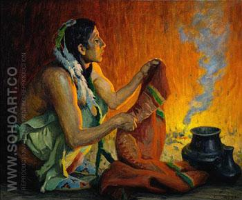 Smoke Ceremony - E Irving Couse reproduction oil painting