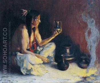 Taos Indian and Pottery - E Irving Couse reproduction oil painting