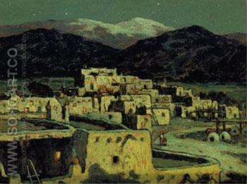 Pueblo Moonlight and Snow - E Irving Couse reproduction oil painting