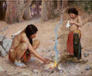 The Campfire - E Irving Couse reproduction oil painting