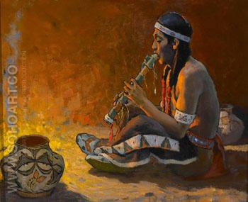 The Flute Player - E Irving Couse reproduction oil painting