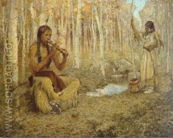 The Flute Song Painting - E Irving Couse reproduction oil painting