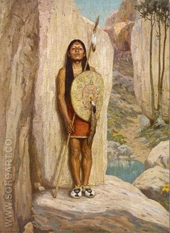 The Sentinel Painting - E Irving Couse reproduction oil painting