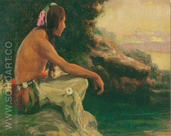 The Setting Sun - E Irving Couse reproduction oil painting
