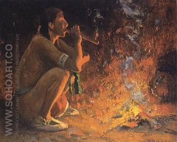 The Smoker - E Irving Couse reproduction oil painting