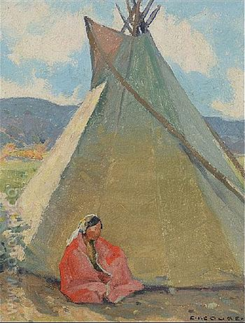 The Tepee - E Irving Couse reproduction oil painting