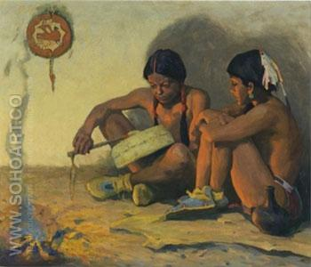 The TomTom Lesson 1932 - E Irving Couse reproduction oil painting