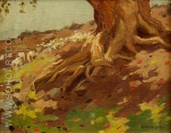 Tree Trunk - E Irving Couse reproduction oil painting