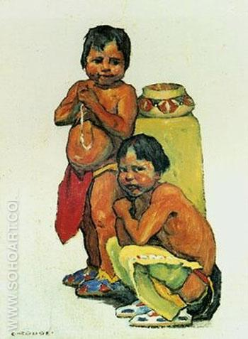 Two Brothers - E Irving Couse reproduction oil painting