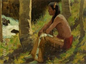 Watching The Stream - E Irving Couse reproduction oil painting