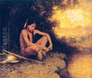 Young Hunter by a Stream - E Irving Couse reproduction oil painting