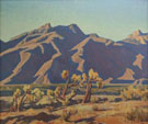 Chollas Against Mountain - Maynard Dixon reproduction oil painting