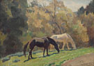 Horses Grazing 1938 - Maynard Dixon reproduction oil painting