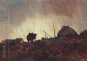 Indian Camp Horses - Maynard Dixon reproduction oil painting