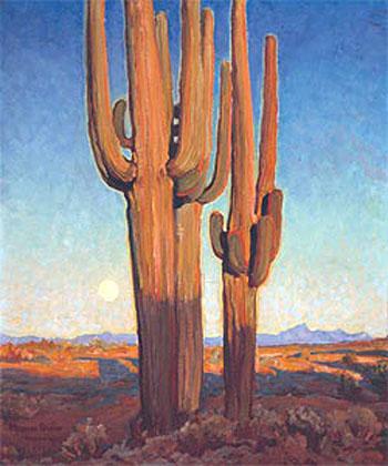 Saguaros at Sunset 1925 - Maynard Dixon reproduction oil painting