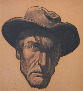 Self Portrait Graphite 1940 - Maynard Dixon reproduction oil painting