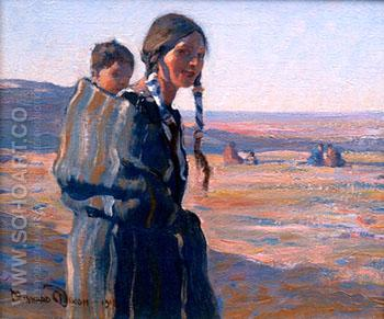 Young Indian Mother - Maynard Dixon reproduction oil painting