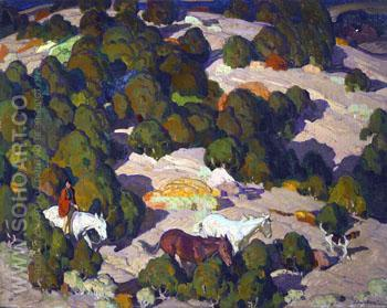 Composition for Sunset in the Fotthills - W Herbert Dunton reproduction oil painting