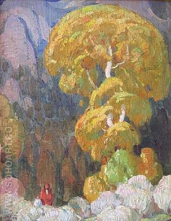 Cottonwood in the Indian Canyon - W Herbert Dunton reproduction oil painting