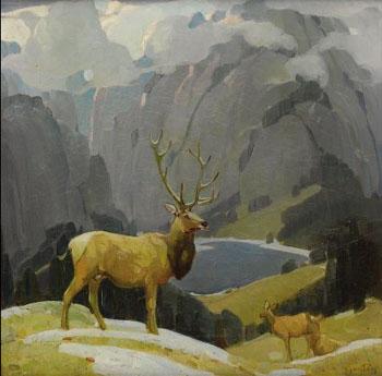In the Tetons - W Herbert Dunton reproduction oil painting