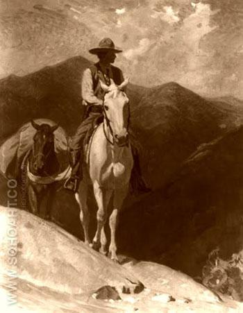 Mountain Horse Rider - W Herbert Dunton reproduction oil painting