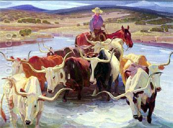Old Texas - W Herbert Dunton reproduction oil painting
