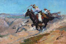 Roping a Wolf - W Herbert Dunton reproduction oil painting