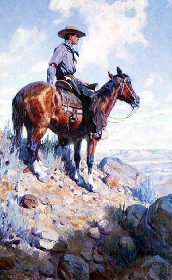 Western American Cowboy Painting 1906 - W Herbert Dunton reproduction oil painting