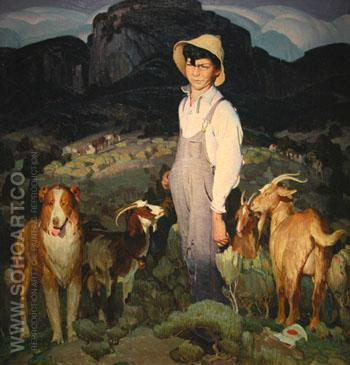 Little Boy with Goats 1926 - W Herbert Dunton reproduction oil painting