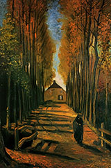 Avenue of Poplars in Autumn - Vincent van Gogh reproduction oil painting