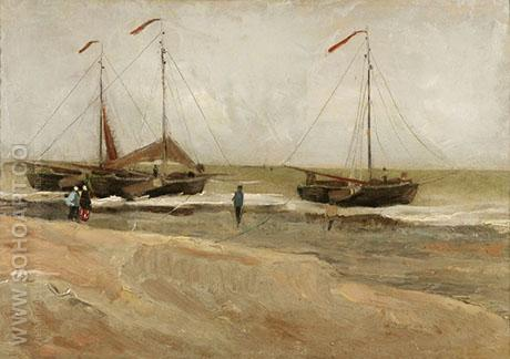 Beach at Scheveningen in Calm Weather - Vincent van Gogh reproduction oil painting