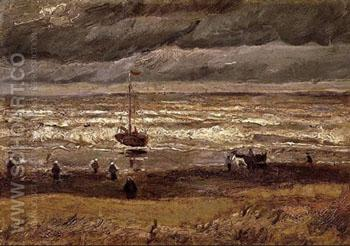 Beach at Scheveningen in Stormy Weather - Vincent van Gogh reproduction oil painting