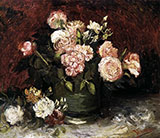 Bowl with Peonies and Roses - Vincent van Gogh reproduction oil painting
