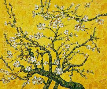 Branches of Almond Tree in Blossom in Yellow - Vincent van Gogh reproduction oil painting