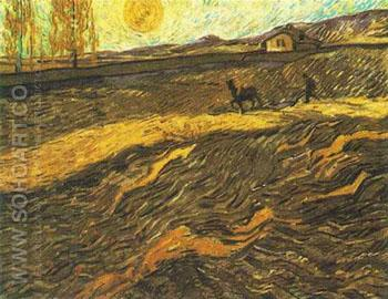 Champ et Laboureur 1889 - Vincent van Gogh reproduction oil painting
